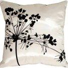 Pillow Decor - White with Black Spring Flower Throw Pillow