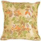 Pillow Decor - Leaf Textures in Green and Orange Throw Pillow