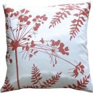"Pillow Decor - Whtie with Red Spring Flower and Ferns 16"" Pillow"