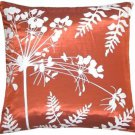 "Pillow Decor - Red with White Spring Flower and Ferns 16"" Pillow"
