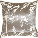 Pillow Decor - Gray with White Spring Flower and Ferns 16x16 Pillow