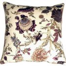 Pillow Decor - Highland Floral Cream and Purple 20X20 Throw Pillow