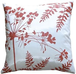"""Pillow Decor - White with Red Spring Flower and Ferns 20"""" Pillow"""