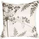 Pillow Decor - White with Gray Spring Flower and Ferns 16x16 Pillow