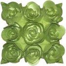 Pillow Decor - Felt Flowers in Green 17x17 Throw Pillow  - SKU: HD1-0001-05-17