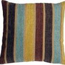 Pillow Decor - Savannah Stripes 20x20 Yellow Blue Chenille Throw Pillow