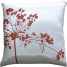 "Pillow Decor - White with Red Spring Flower 16"" Throw Pillow"