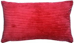Pillow Decor - Wide Wale Corduroy Red 12x20 Throw Pillow  - SKU: WD1-0001-12-92