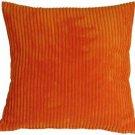 Pillow Decor - Wide Wale Corduroy Dark Orange 22x22 Throw Pillow