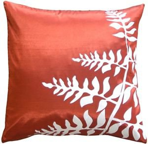 """Pillow Decor - Red with White Bold Fern 20"""" Throw Pillow  - SKU: KB1-0009-09-20"""