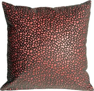 Pillow Decor - Pebbles in Red 18x18 Faux Fur Throw Pillow  - SKU: YA1-0004-01-18