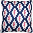 Pillow Decor - Sea Island Navy and Red Argyle Seahorse Throw Pillow 20x20