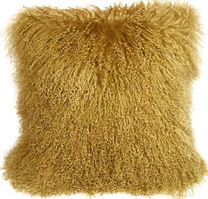 PIllow Decor - Genuine Mongolian Tibetan Sheepskin Lamb Wool Soft Gold