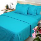 Turquoise Striped Queen Size Sheet Set 1000 Thread Count Egyptian Cotton