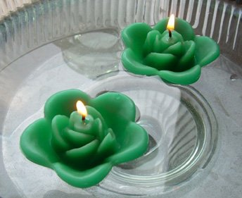 12 Kelly Green Floating Rose Wedding Party Candles candle