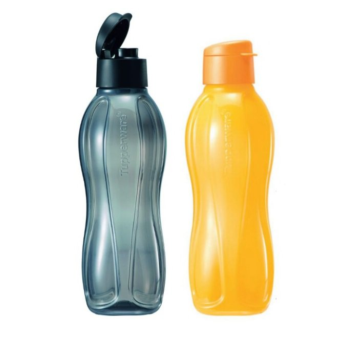 Tupperware Eco Bottle Flip Top 1.0L (2 units Yellow & Black)