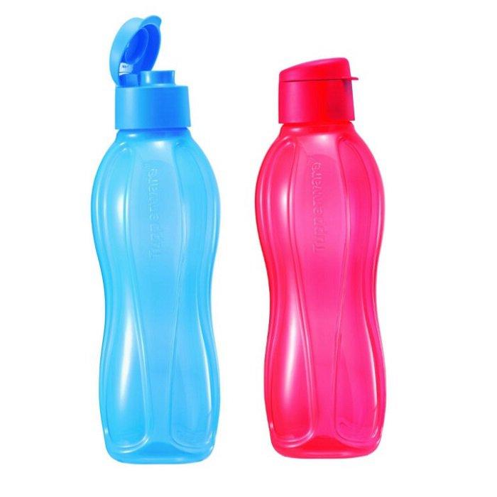 Tupperware Eco Bottle Flip Top 1.0L (2 units Red & Blue)