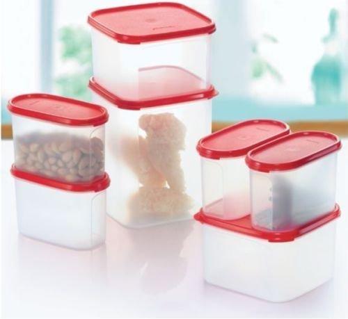 Tupperware Kitchen Storage Modular Mates Essential Set (Set of 7 - Red Lids)