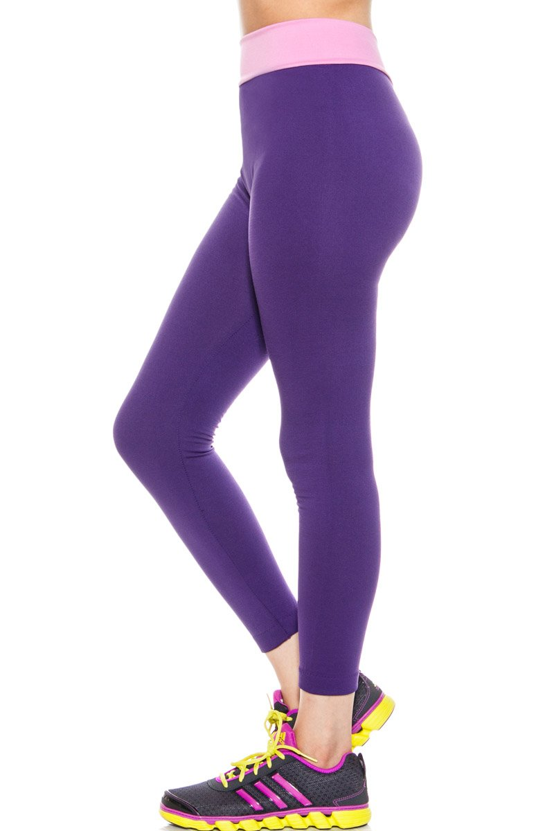 S.G STYLE Women's Seamless Active Leggings - Yoga Running Workout - Purple and Rose �