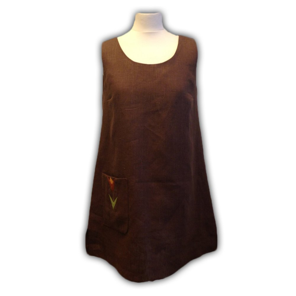 Brown Linen Pinafore Dress