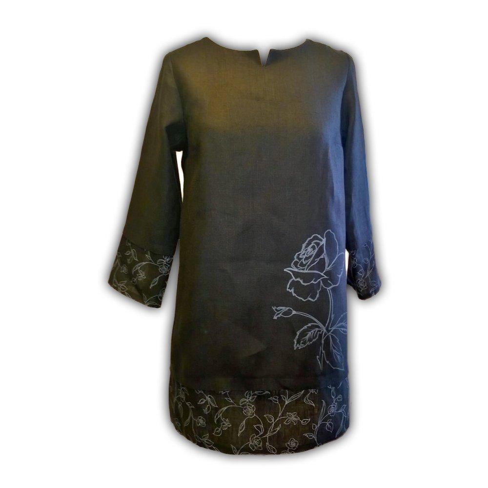 """Artsy Black Linen Tunic """"Rose"""""""