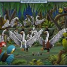 Gaggle Of Klezmeer Geese - 12x18 Framed Print In Gold Frame (17x23 Finished)
