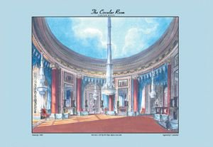 Circular Room - Carlton House - 16x24 Giclee Fine Art Print Framed In Black (20x30 Finished)