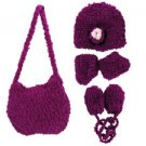 Hand Knit Magenta Purse With Beanie, Booties And Mittens (case Of 20)