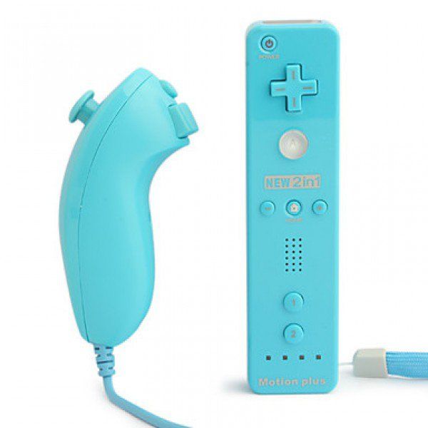 MotionPlus Remote Controller and Nunchuk for Wii/Wii U Blue