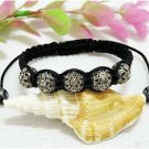 DARK GREY SHAMBALLA CRYSTAL BALL ADJUSTABLE BRACELET