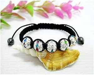 MULTI-COLOR AND CLEAR BEADS SHAMBALLA BRACELET