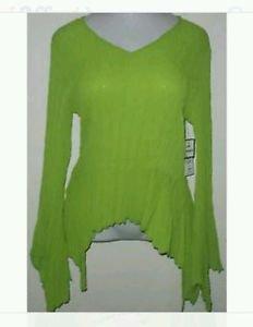 DRESS U BY SHARON LIME GREEN V NECK BLOUSE