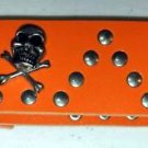 SKULL AND CROSS BONES STUDDED WRIST BAND BRACELET ORANGE