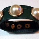 FAUX PEARLS GOLD TONE WRIST BAND BRACELET GREEN