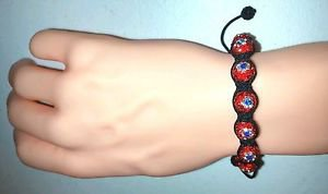 RED WHITE and BLUE with BLACK STRAND ADJUSTABLE BRACELET
