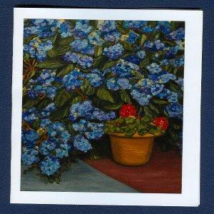 Big Blue ~ Floral Art Notecards