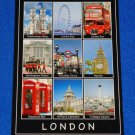 LONDON POSTCARD WESTMINISTER ABBEY LONDON EYE TRAFALGAR SQUARE BUCKINGHAM PALACE