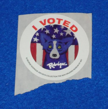 BLUE DOG STICKER I VOTED GEORGE RODRIGUE 2016 PRESIDENT ELECTION TRUMP CLINTON