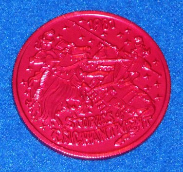 JOUSTING KNIGHTS ON HORSES STORIES OF ENCHANTMENT NOLA MARDI GRAS DOUBLOON TOKEN