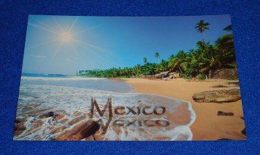 ***BRAND NEW*** EXTRAORDINARY UNUSED MEXICO BEACH POSTCARD SHORELINE PALM TREES
