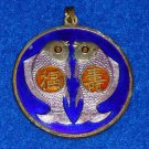STRIKING ELEGANT CHINESE HEIRLOOM BLUE COLORED CHARM FISH WITH ASIAN CHARACTERS