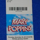 MARY POPPINS TICKET STUB JULIE ANDREWS DICK VAN DYKE DISNEY MUSICAL P L TRAVERS