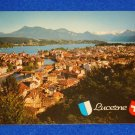 GORGEOUS UNUSED VINTAGE LUCERNE SWITZERLAND CITY POSTCARD LAKE RIGI VILLAGE