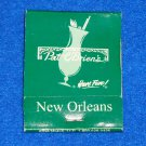 VINTAGE PAT O'BRIEN'S BAR MATCHBOOK NEW ORLEANS LOUISIANA HURRICANE COCKTAIL