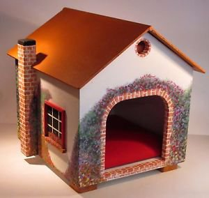 Handmade and hand painted cute Cat Cottage or small Dog house