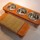 "3 bowl pet feeding station + 11 1/2"" Mini flat cat scratcher"