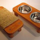 "2 bowl pet feeding station + 11 1/2"" Mini flat cat scratcher"