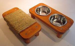 "2 bowl pet feeding station + 11 1/2"" Mini flat cat scratcher"