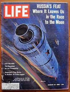 Life Magazine August 24, 1962 : Cover - Illustration of two Soviet capsules