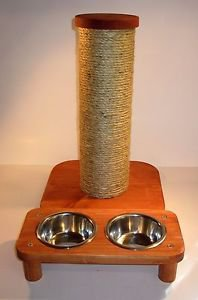 "2 bowl pet feeding station + 15"" sisal rope cat scratching post... combo set"